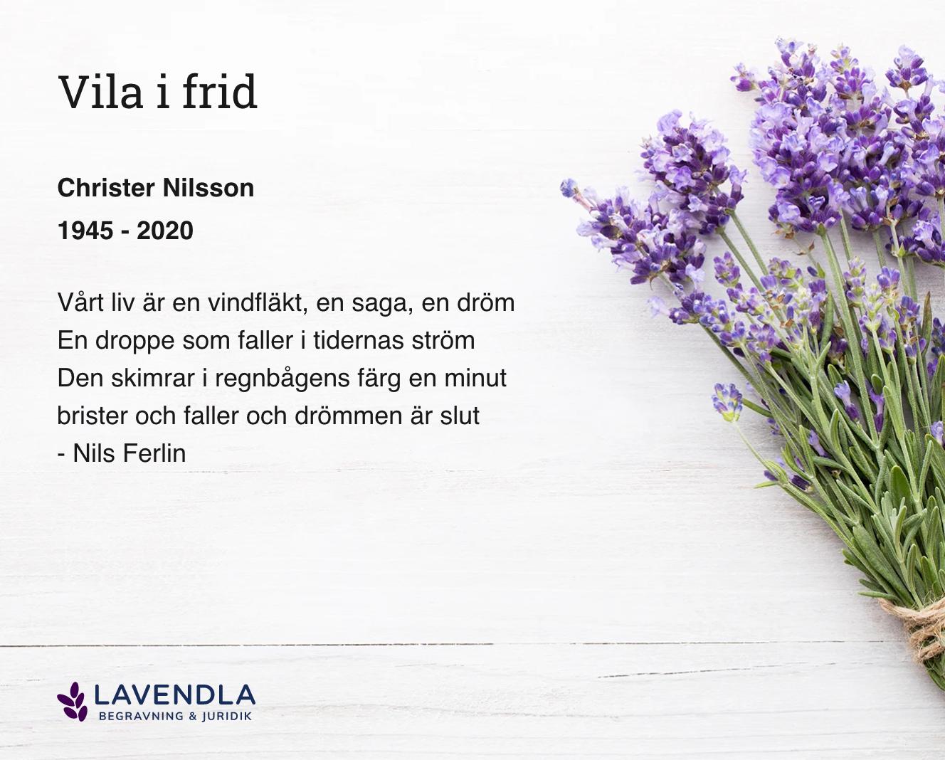 Inbjudningskort till ceremonin för Christer Nilsson