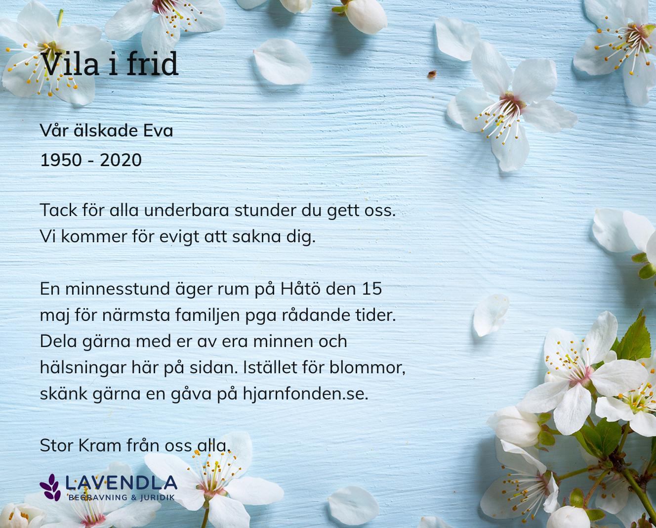 Inbjudningskort till ceremonin för Vår älskade Eva